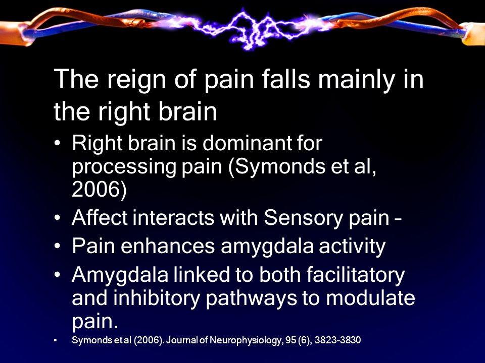 The reign of pain falls mainly in the right brain Right brain is dominant for processing pain (Symonds et al, 2006) Affect interacts with Sensory pain – Pain enhances amygdala activity Amygdala linked to both facilitatory and inhibitory pathways to modulate pain.