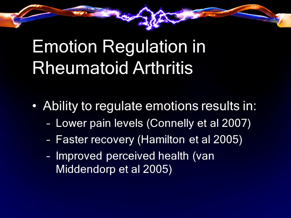 Emotion Regulation in Rheumatoid Arthritis Ability to regulate emotions results in: –Lower pain levels (Connelly et al 2007) –Faster recovery (Hamilton et al 2005) –Improved perceived health (van Middendorp et al 2005)