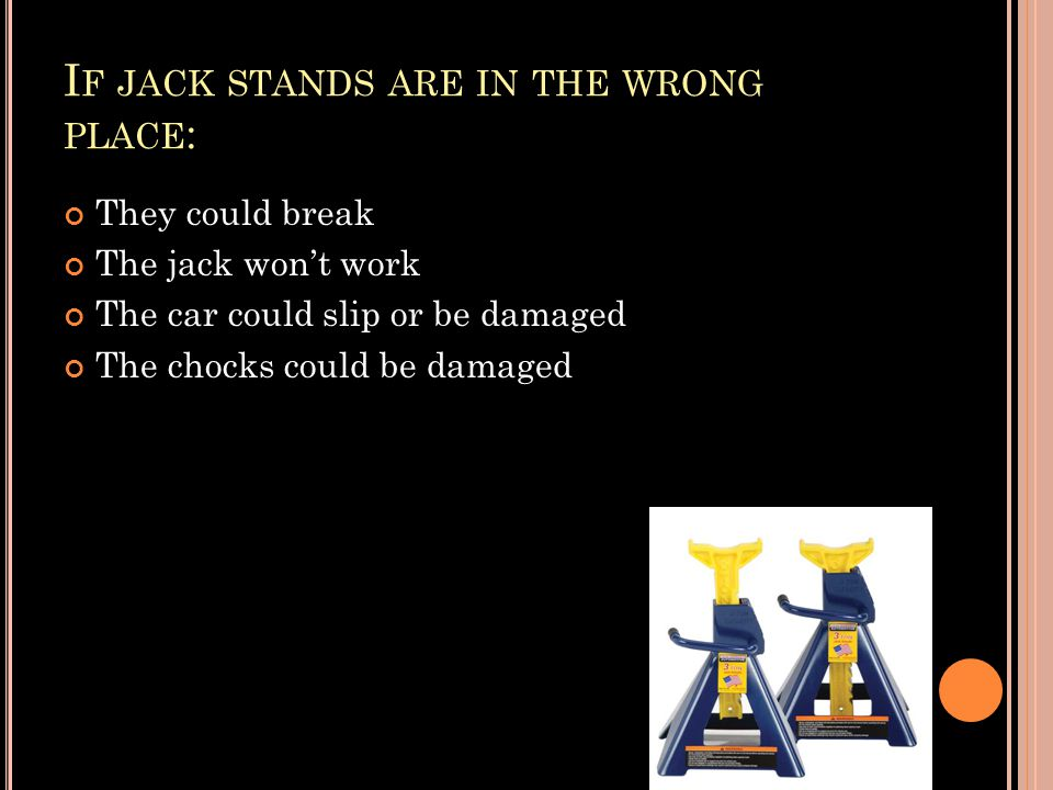 I F JACK STANDS ARE IN THE WRONG PLACE : They could break The jack won't work The car could slip or be damaged The chocks could be damaged