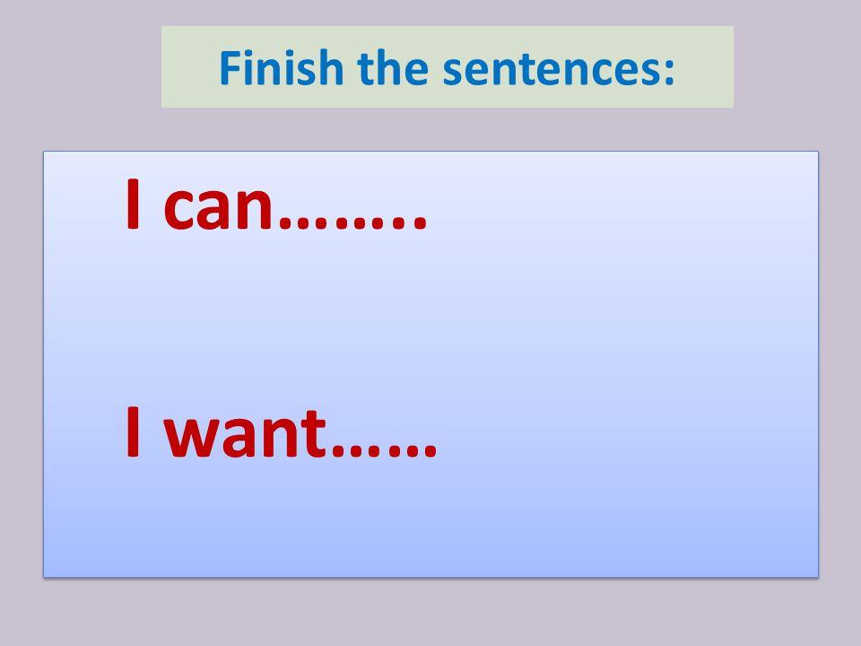Finish the sentences: I can…….. I want…… I can…….. I want……
