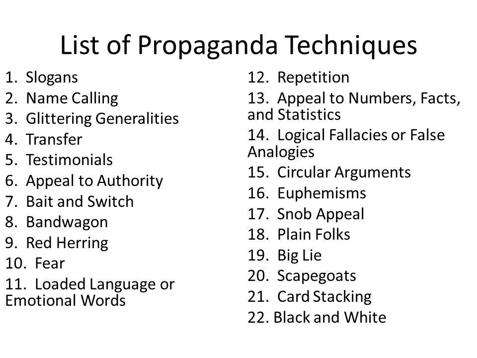 List of Propaganda Techniques 1.Slogans 2. Name Calling 3.