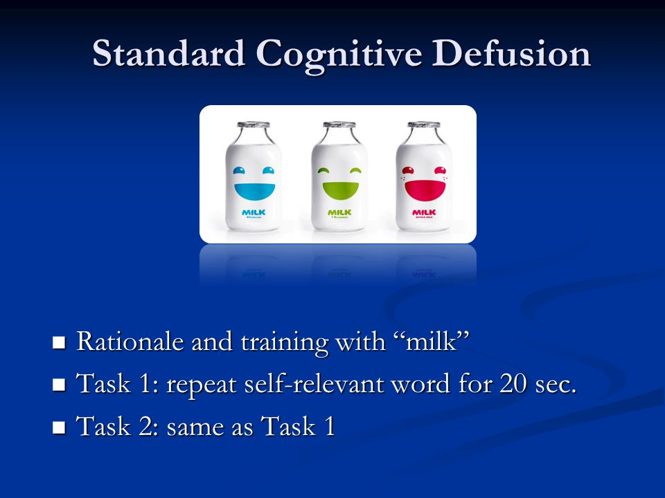 Standard Cognitive Defusion Rationale and training with milk Rationale and training with milk Task 1: repeat self-relevant word for 20 sec.