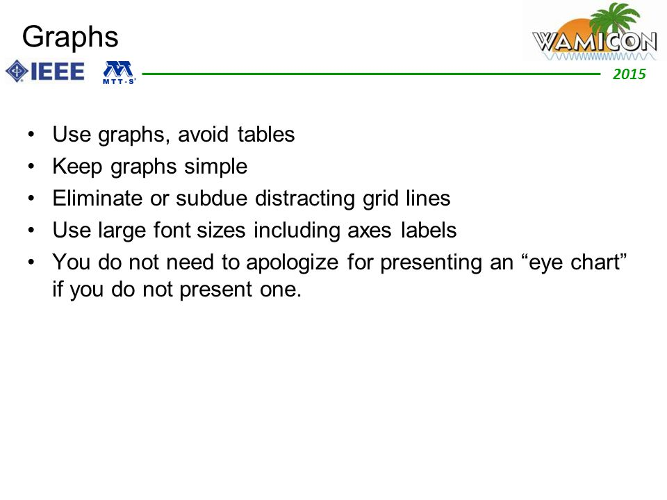 2012 2015 Graphs Use graphs, avoid tables Keep graphs simple Eliminate or subdue distracting grid lines Use large font sizes including axes labels You