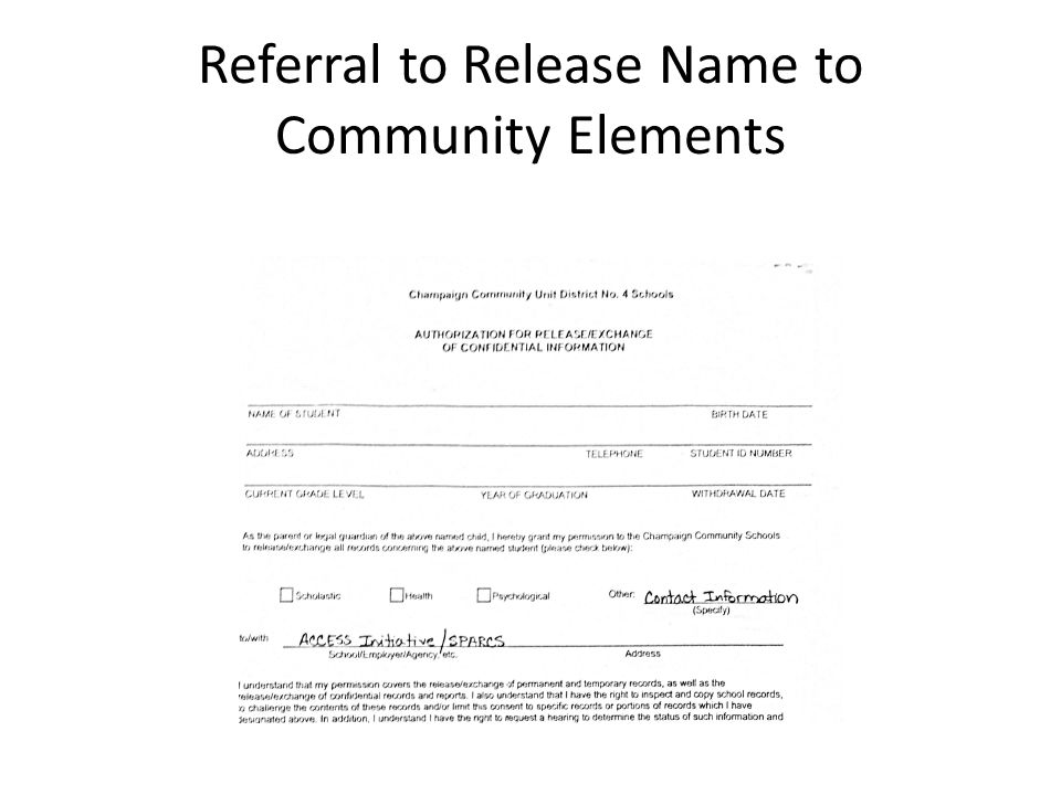 Referral to Release Name to Community Elements