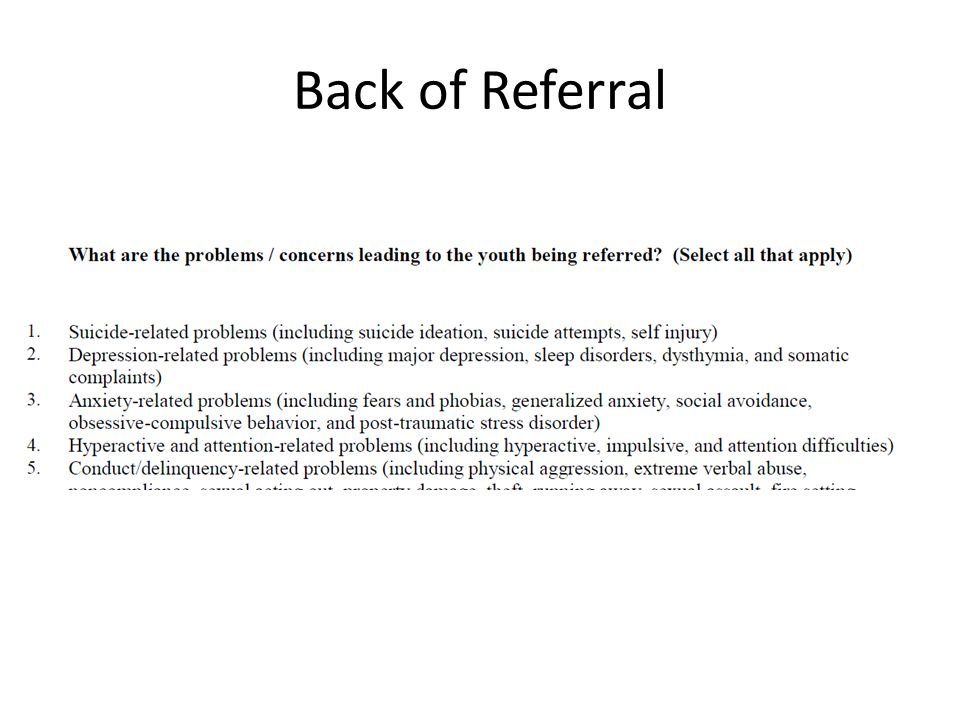 Back of Referral
