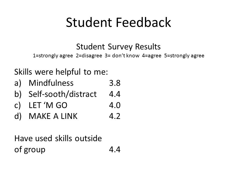 Student Feedback Student Survey Results 1=strongly agree 2=disagree 3= don't know 4=agree 5=strongly agree Skills were helpful to me: a)Mindfulness 3.8 b)Self-sooth/distract 4.4 c)LET 'M GO4.0 d)MAKE A LINK 4.2 Have used skills outside of group4.4