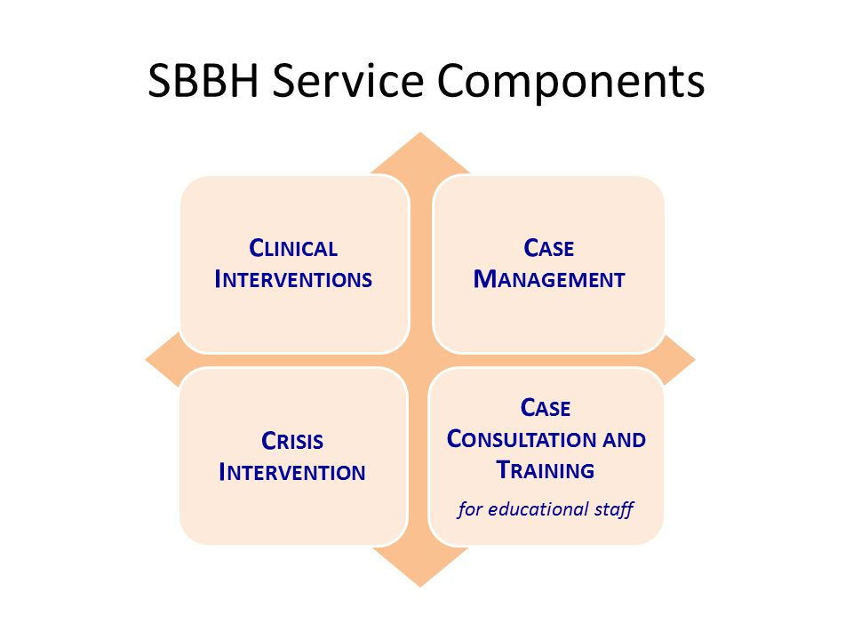 SBBH Service Components C LINICAL I NTERVENTIONS C ASE M ANAGEMENT C RISIS I NTERVENTION C ASE C ONSULTATION AND T RAINING for educational staff