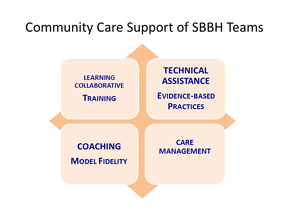Community Care Support of SBBH Teams LEARNING COLLABORATIVE T RAINING TECHNICAL ASSISTANCE E VIDENCE - BASED P RACTICES COACHING M ODEL F IDELITY CARE MANAGEMENT