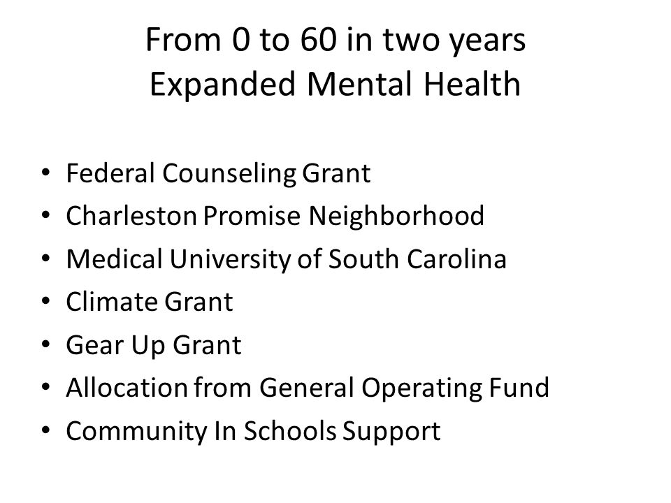 From 0 to 60 in two years Expanded Mental Health Federal Counseling Grant Charleston Promise Neighborhood Medical University of South Carolina Climate Grant Gear Up Grant Allocation from General Operating Fund Community In Schools Support