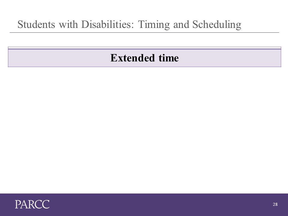 28 Students with Disabilities: Timing and Scheduling Extended time