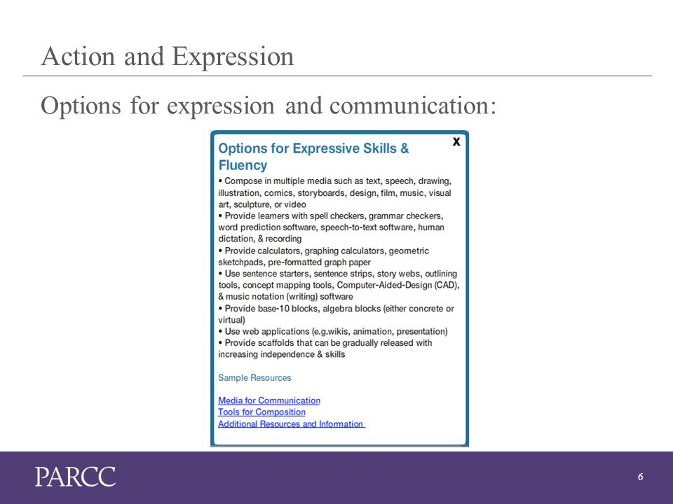 6 Action and Expression Options for expression and communication: