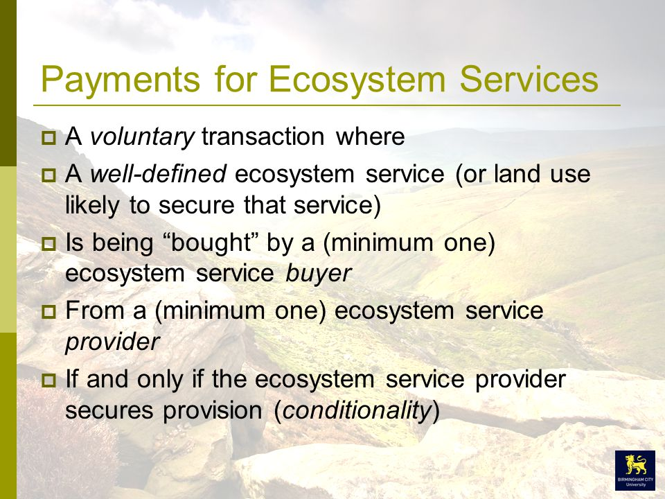 Payments for Ecosystem Services  A voluntary transaction where  A well-defined ecosystem service (or land use likely to secure that service)  Is being bought by a (minimum one) ecosystem service buyer  From a (minimum one) ecosystem service provider  If and only if the ecosystem service provider secures provision (conditionality)