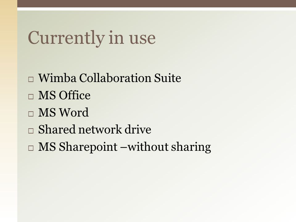  Recommend continued use of Wimba Classroom with development of future plans to upgrade to Blackboard Collaborate:  Capabilities for sharing and interacting with other MD district libraries outweigh the negatives with regard to usability of Wimba Classroom  Future upgrade to Blackboard Collaborate provides a means of improving usability (requires coordination with other library sites to ensure ongoing interoperability and satisfaction of contractual details)  Should future budget cuts eliminate funding for Wimba/Blackboard, AnyMeeting is worth further consideration:  Still fairly robust set of meeting features  Installation issues seem resolvable, but requires further testing, documentation, and trial rollout before considering full rollout Web Conferencing: Recommendations