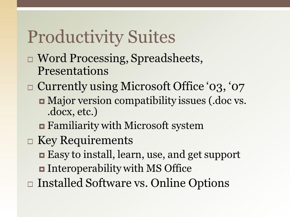 Microsoft Office 2003/2007 vs.