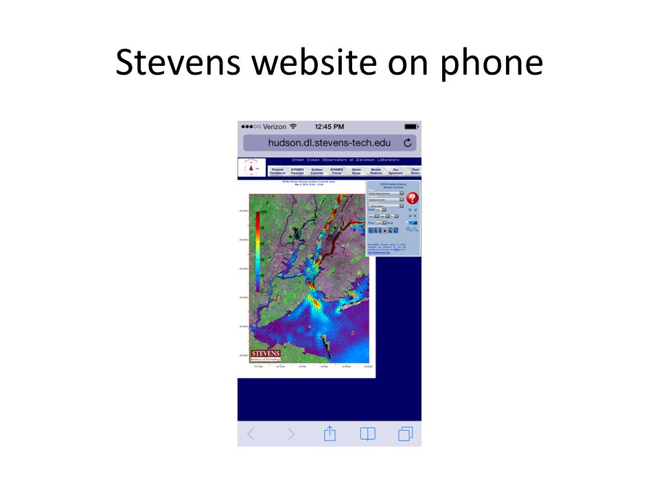 Stevens website on phone