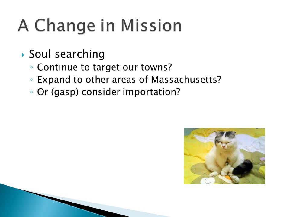  Soul searching ◦ Continue to target our towns. ◦ Expand to other areas of Massachusetts.