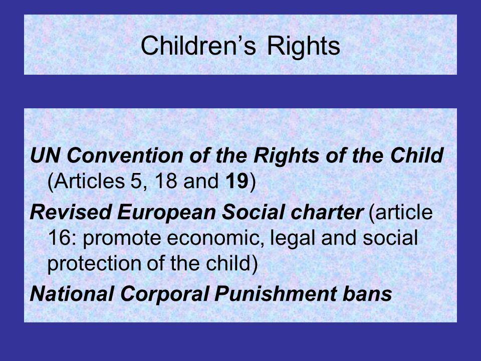 Important Swedish lawmaking to prevent corporal punishment 1858 prohibited to beat grown up servants 1920 prohibited to beat all servants, children included 1928 corporal punishment of pupils prohibited in higher education 1957 corporal punishment legally equalised to cruelty 1958 corporal punishment prohibited in all schools 1966 corporal punishment abolished as a method of upbringing of children in the Swedish Parental Act 1979 Corporal punishment of children prohibited by the Swedish Parental Act 1982 Corporal punishment of children incorporated under public prosecution 1990 Sweden ratifies the UNCRC.