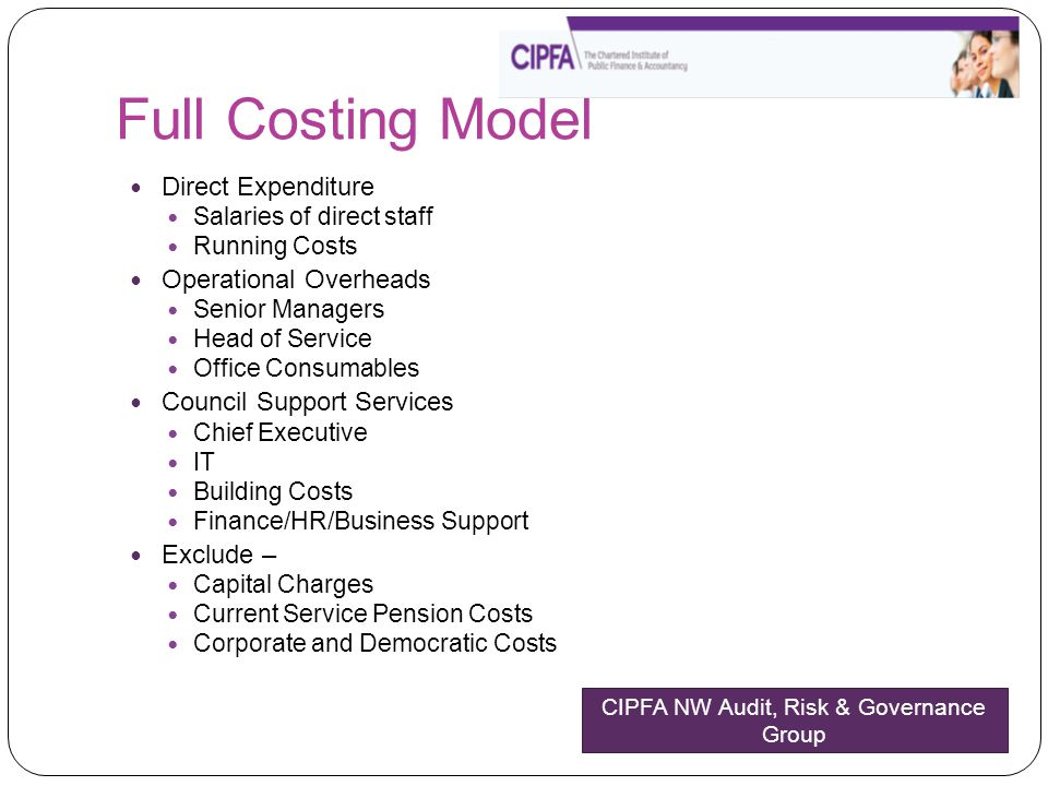 Full Costing Model Direct Expenditure Salaries of direct staff Running Costs Operational Overheads Senior Managers Head of Service Office Consumables