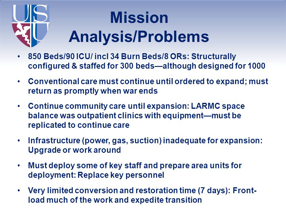Mission Analysis/Problems 850 Beds/90 ICU/ incl 34 Burn Beds/8 ORs: Structurally configured & staffed for 300 beds—although designed for 1000 Conventi