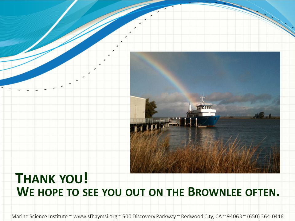 T HANK YOU ! W E HOPE TO SEE YOU OUT ON THE B ROWNLEE OFTEN. Marine Science Institute ~ www.sfbaymsi.org ~ 500 Discovery Parkway ~ Redwood City, CA ~