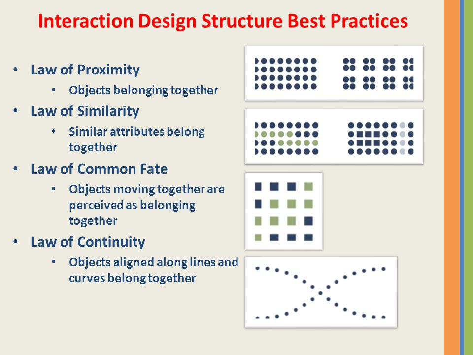Law of Proximity Objects belonging together Law of Similarity Similar attributes belong together Law of Common Fate Objects moving together are perceived as belonging together Law of Continuity Objects aligned along lines and curves belong together Interaction Design Structure Best Practices