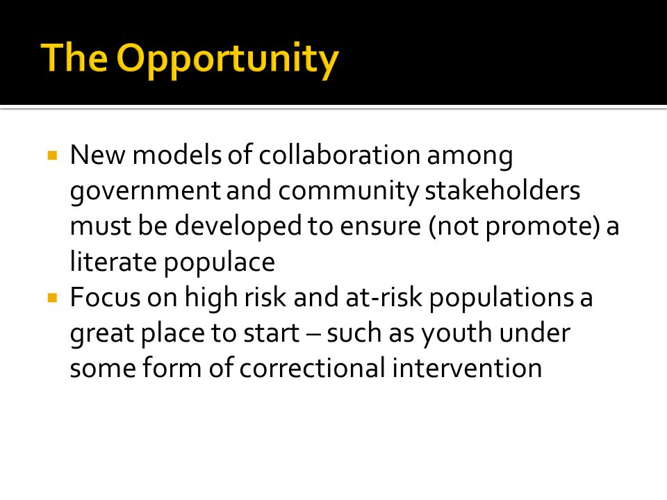  New models of collaboration among government and community stakeholders must be developed to ensure (not promote) a literate populace  Focus on high risk and at-risk populations a great place to start – such as youth under some form of correctional intervention