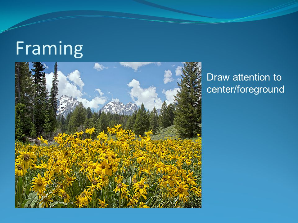 Framing Draw attention to center/foreground