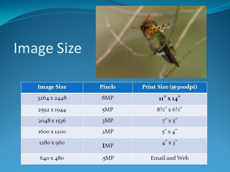 """Image Size PixelsPrint Size (@300dpi) 3264 x 24488MP 11"""" x 14"""" 2592 x 19445MP8½"""" x 6½"""" 2048 x 15363MP7"""" x 5"""" 1600 x 12002MP5"""" x 4"""" 1280 x 960 1 MP 4"""""""