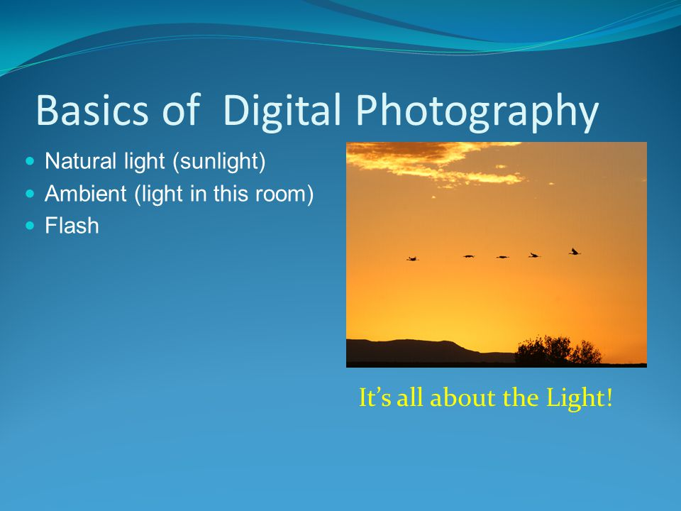 It's all about the Light! Basics of Digital Photography Natural light (sunlight) Ambient (light in this room) Flash