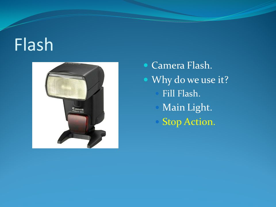 Camera Flash. Why do we use it? Fill Flash. Main Light. Stop Action.