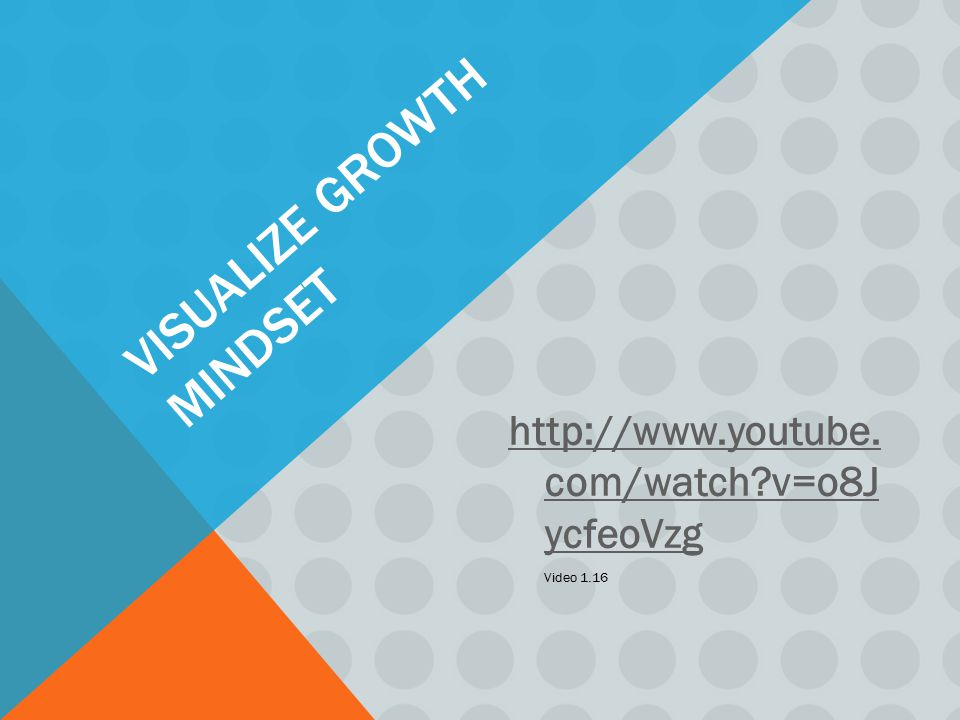 VISUALIZE GROWTH MINDSET http://www.youtube. com/watch?v=o8J ycfeoVzg Video 1.16