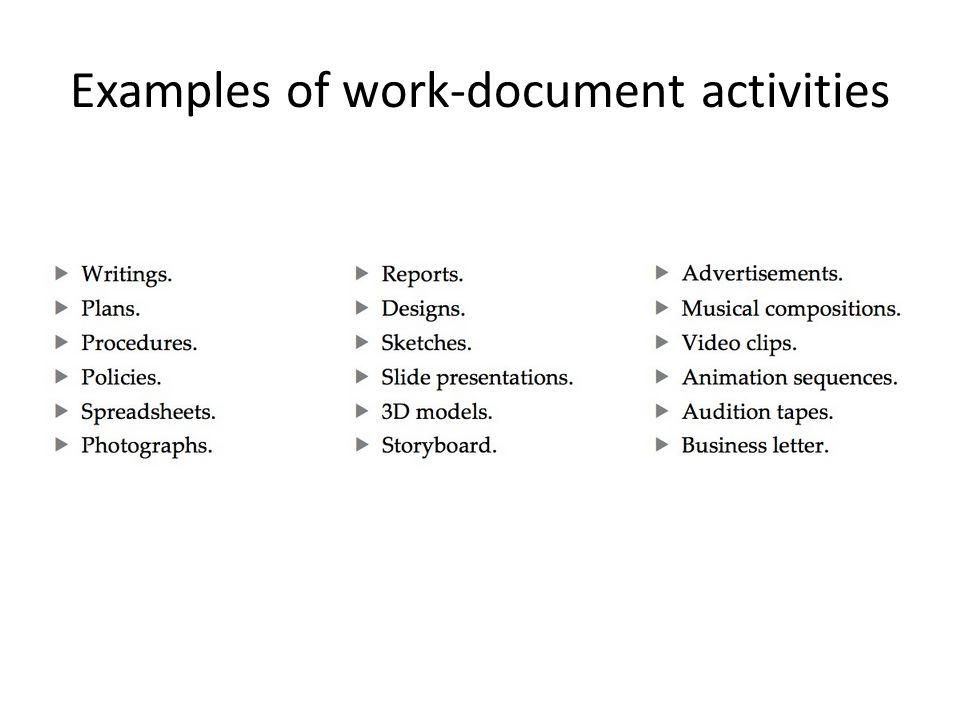Examples of work-document activities