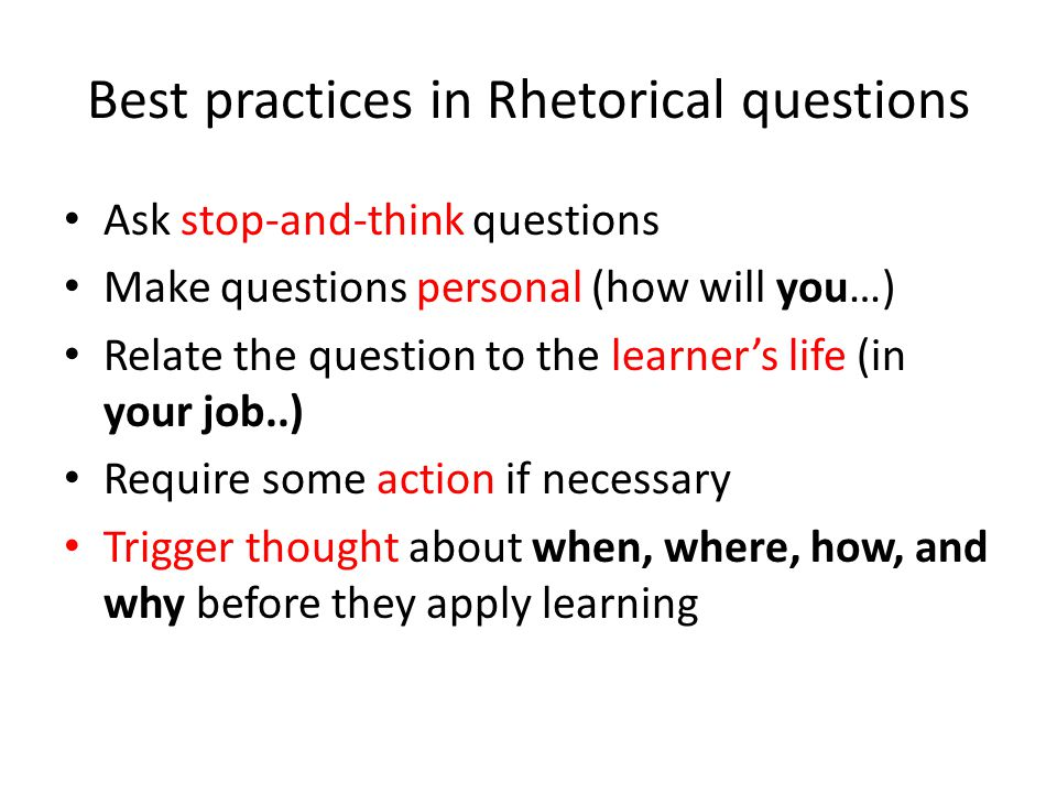 Examples of rhetorical questions