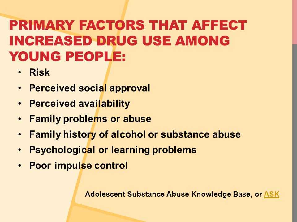 PRIMARY FACTORS THAT AFFECT INCREASED DRUG USE AMONG YOUNG PEOPLE: Risk Perceived social approval Perceived availability Family problems or abuse Fami