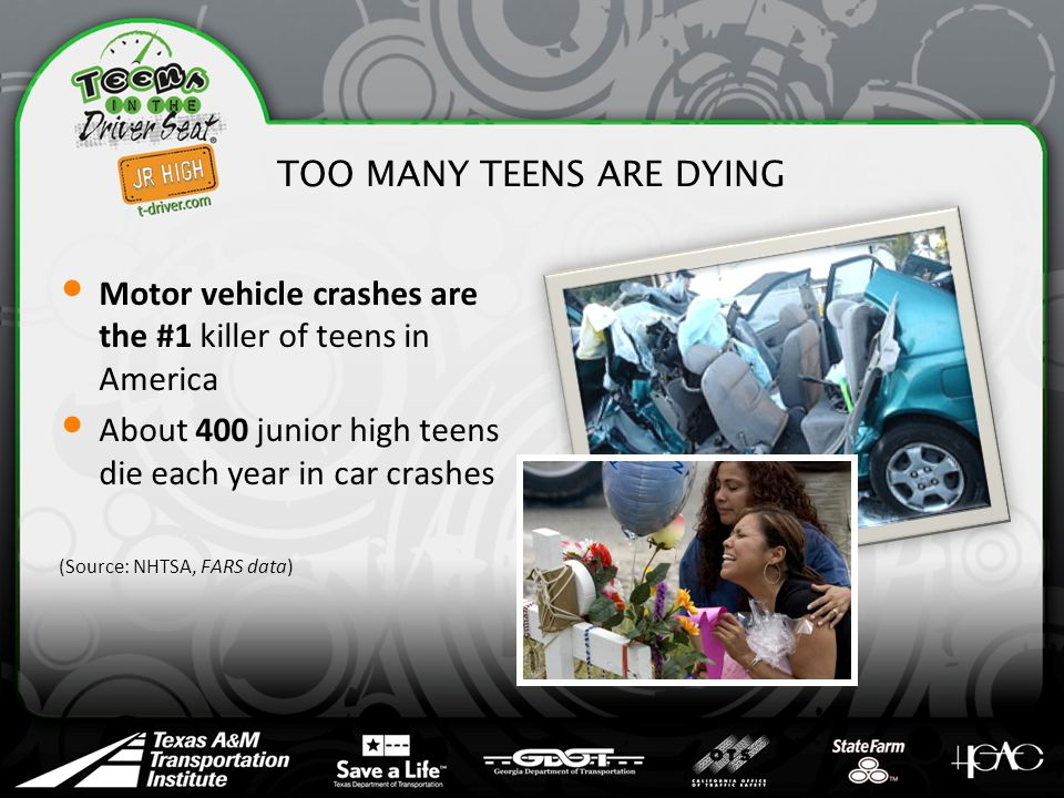 TOO MANY TEENS ARE DYING Motor vehicle crashes are the #1 killer of teens in America About 400 junior high teens die each year in car crashes (Source: NHTSA, FARS data)