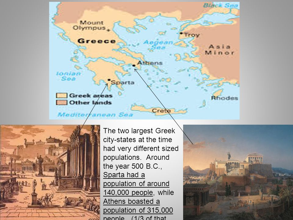 The two largest Greek city-states at the time had very different sized populations. Around the year 500 B.C., Sparta had a population of around 140,00