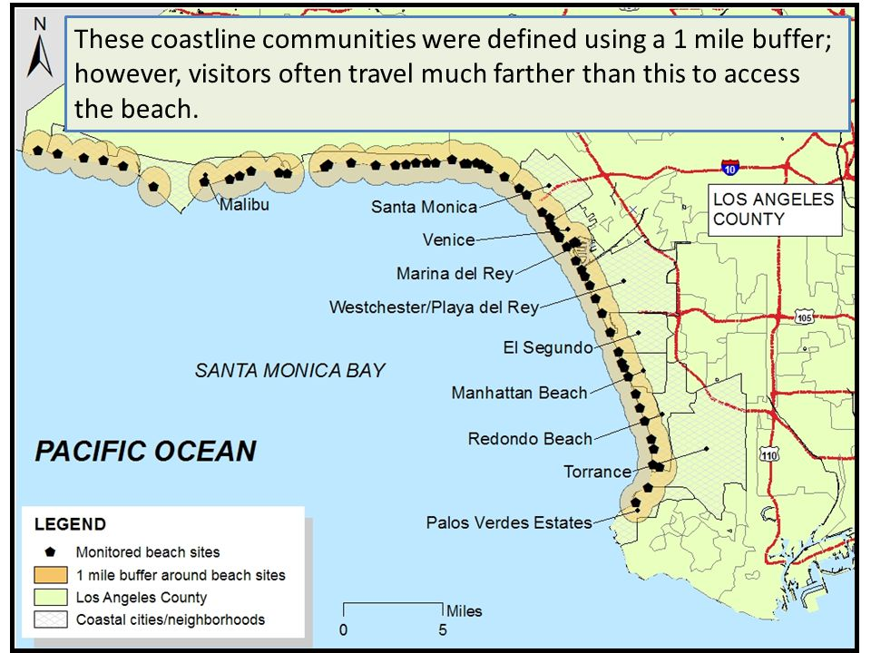 These coastline communities were defined using a 1 mile buffer; however, visitors often travel much farther than this to access the beach.