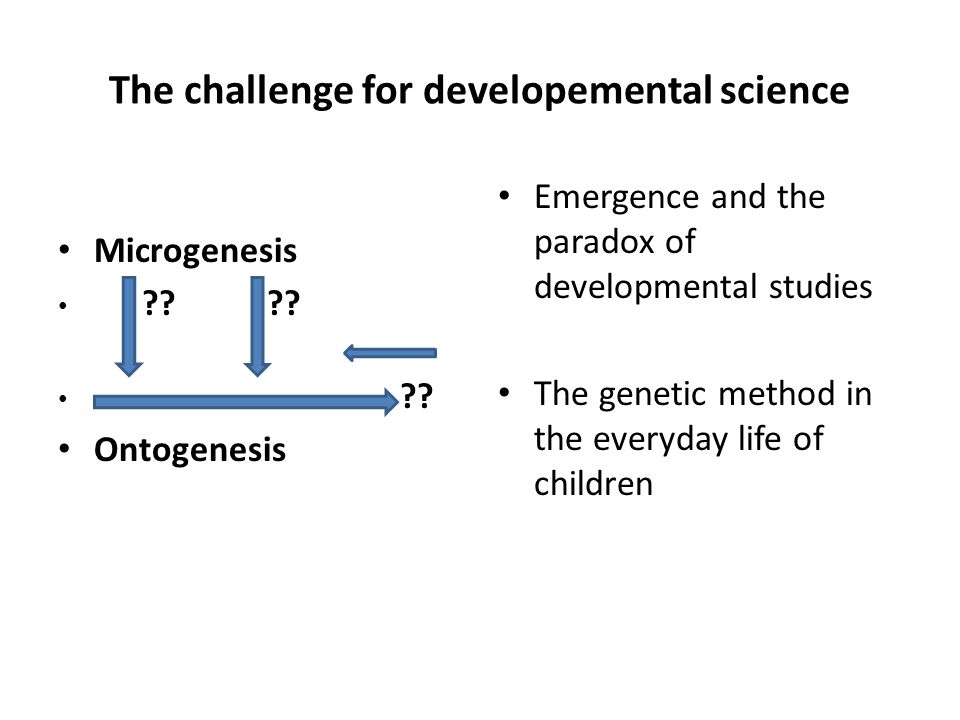 The challenge for developemental science Microgenesis .