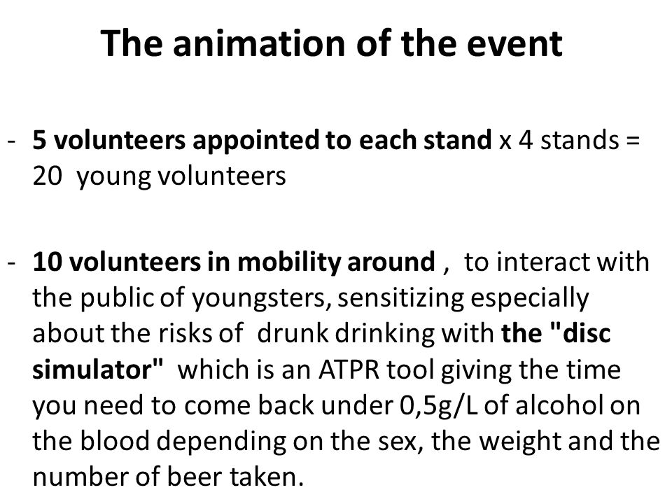 The animation of the event -5 volunteers appointed to each stand x 4 stands = 20 young volunteers -10 volunteers in mobility around, to interact with the public of youngsters, sensitizing especially about the risks of drunk drinking with the disc simulator which is an ATPR tool giving the time you need to come back under 0,5g/L of alcohol on the blood depending on the sex, the weight and the number of beer taken.