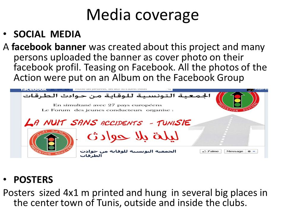 SOCIAL MEDIA A facebook banner was created about this project and many persons uploaded the banner as cover photo on their facebook profil.