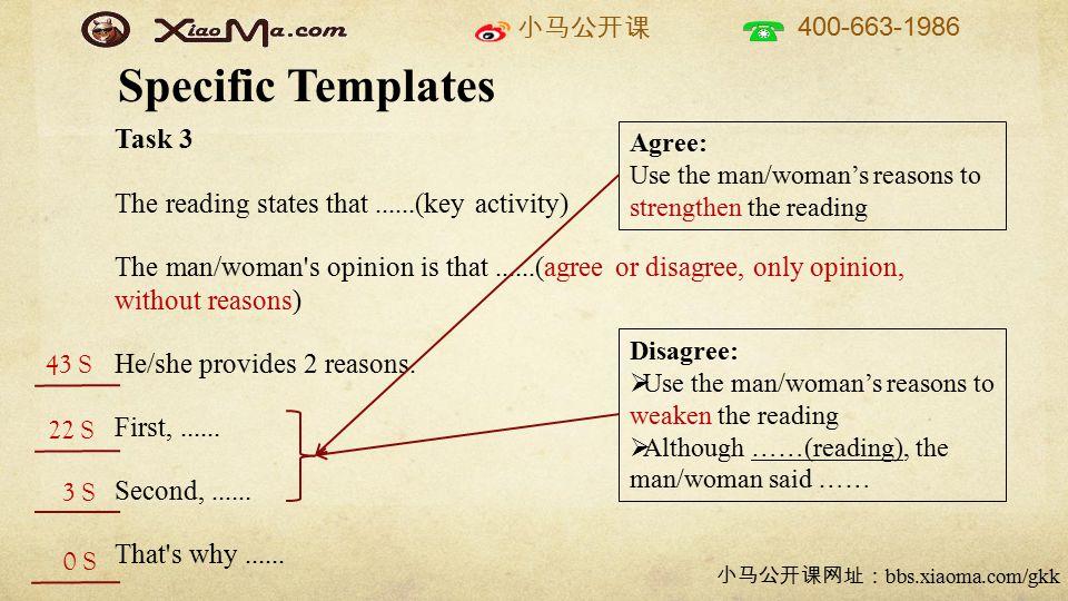 小马公开课 400-663-1986 小马公开课网址: bbs.xiaoma.com/gkk Specific Templates Task 3 The reading states that......(key activity) The man/woman's opinion is that..