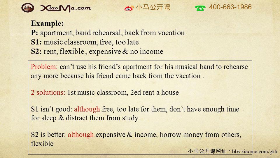 小马公开课 400-663-1986 小马公开课网址: bbs.xiaoma.com/gkk Problem: can't use his friend's apartment for his musical band to rehearse any more because his friend
