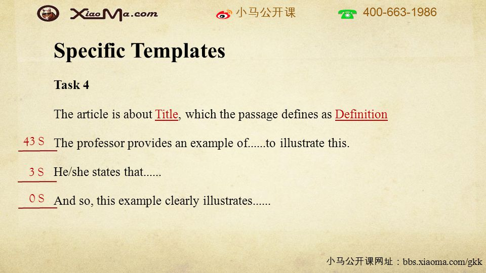 小马公开课 400-663-1986 小马公开课网址: bbs.xiaoma.com/gkk Specific Templates Task 4 The article is about Title, which the passage defines as Definition The professor provides an example of......to illustrate this.