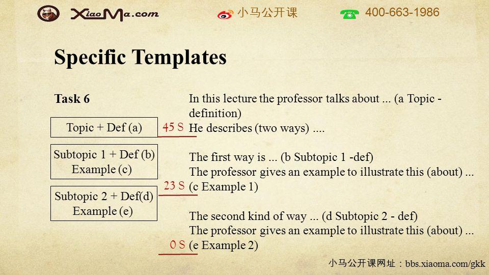小马公开课 400-663-1986 小马公开课网址: bbs.xiaoma.com/gkk Task 6 Specific Templates Topic + Def (a) Subtopic 1 + Def (b) Example (c) Subtopic 2 + Def(d) Example