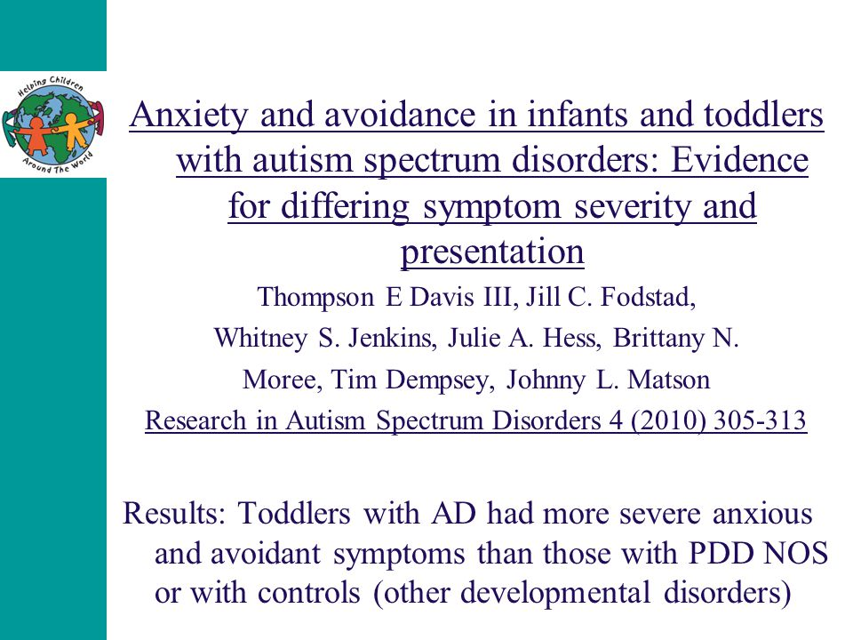 Anxiety and avoidance in infants and toddlers with autism spectrum disorders: Evidence for differing symptom severity and presentation Thompson E Davi