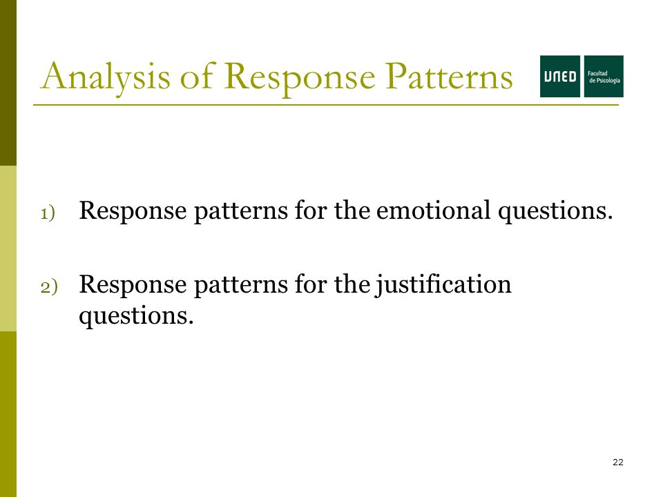 22 Analysis of Response Patterns 1) Response patterns for the emotional questions.