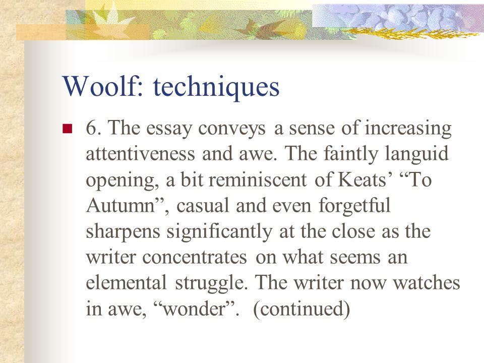 Woolf: techniques 5.