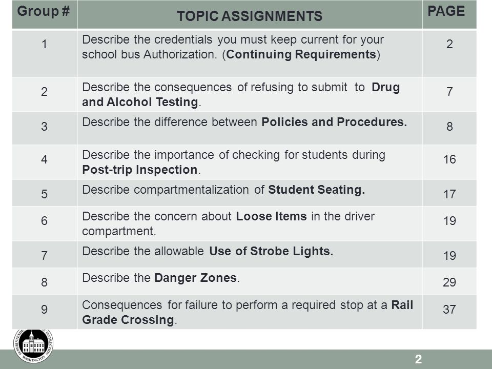 2 Group # TOPIC ASSIGNMENTS PAGE 1 Describe the credentials you must keep current for your school bus Authorization. (Continuing Requirements) 2 2 Des