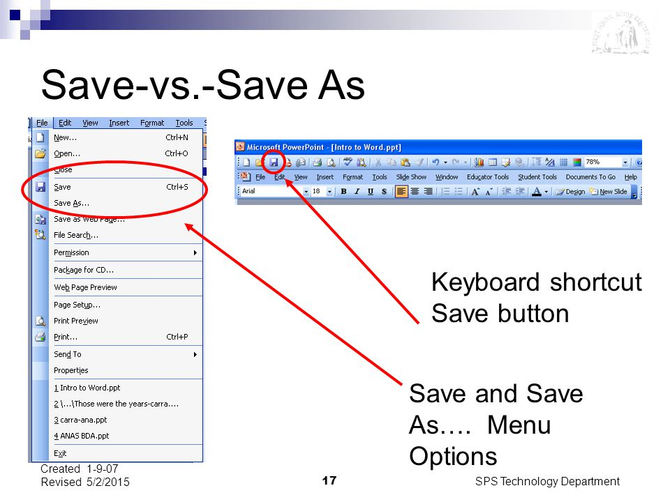 SPS Technology Department17 Created 1-9-07 Revised 5/2/2015 Save-vs.-Save As Keyboard shortcut Save button Save and Save As…. Menu Options