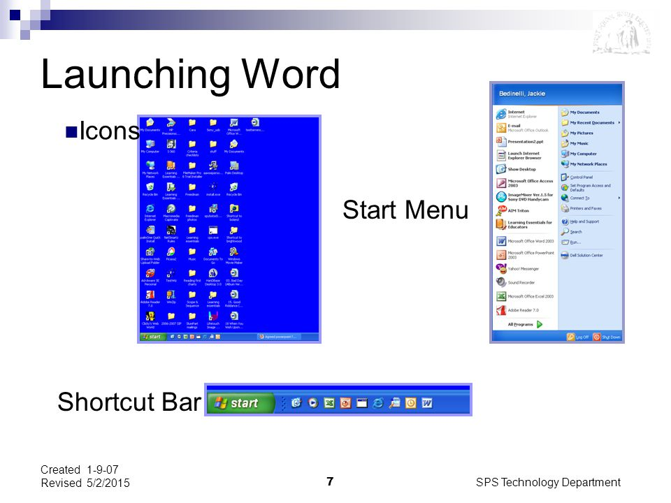 SPS Technology Department7 Created 1-9-07 Revised 5/2/2015 Launching Word Icons Start Menu Shortcut Bar